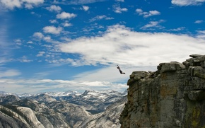 Picture mountains, situation, jump, people, guy