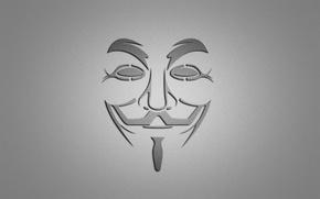Picture smile, minimalism, mask, grey background, V for Vendetta, V for vendetta