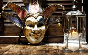 Picture New Year, mask, glasses, golden, champagne, New Year, Happy, champagne, 2016