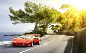 Picture the sun, glare, Lamborghini, red, Lamborghini, front, Countach, Countach