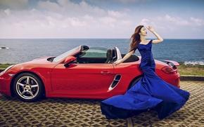 Picture sea, machine, auto, girl, pose, style, Porsche, figure, dress, convertible, Asian, promenade