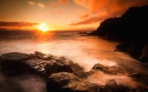 Picture sea, sunset, stones, rocks, shore