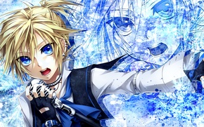 Picture art, microphone, guy, vocaloid, earrings, Vocaloid, sings, kagamine len, ueno tsuki