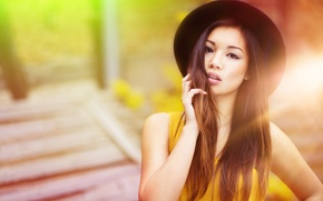 Picture girl, face, background, hair, hand, hat, lips