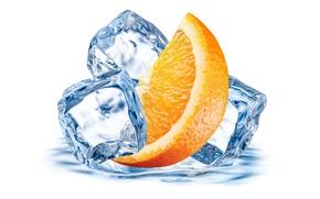 Picture ice, orange, citrus