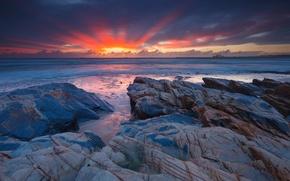 Picture landscape, stones, the ocean, dawn, shore
