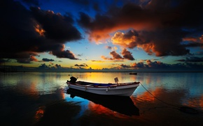 Wallpaper Clouds, the evening, Boat, Horizon