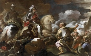 Wallpaper picture, battle genre, The Capture Of The Fortress, warrior, horse, rider, Luca Giordano