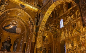 Picture Italy, chapel, Sicily, Palermo, Palace of the Normans, Cappella Palatina, the Cappella Palatina