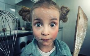 Picture kitchen, girl, flour, hostess