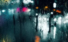 Picture wet, glass, drops, macro, light, the city, glare, rain, bokeh