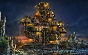 Picture night, house, ship, island, art, desktopography, pirate island
