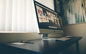 Picture mouse, iMac, table, brand, keyboard, apple, monitor