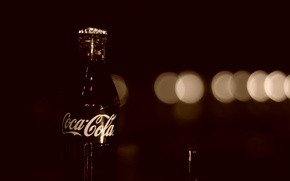 Picture glass, bottle, Sepia, coca-cola