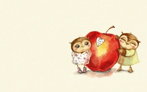 Picture mood, gift, owl, heart, Apple, art, a couple, Valentine, recognition, children's, sovushka, Inga Paltser, Inga, …