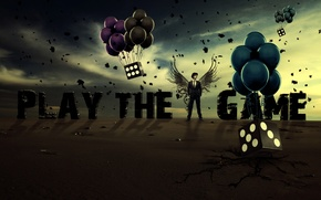 Picture dice, the sky, balloons