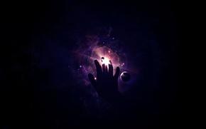 Wallpaper light, planet, hand