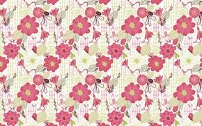 Picture flowers, birds, pattern