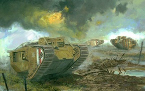 Picture art, drawing, tank, ww1