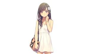 Picture girl, flowers, anime, art, bag, yohan12