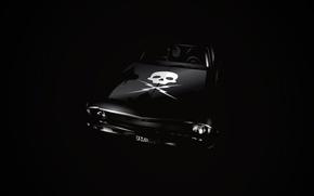 Picture skull, Chevrolet, black background, Nova, Death proof, Death Proof