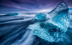 Picture beach, ice, the evening, Iceland