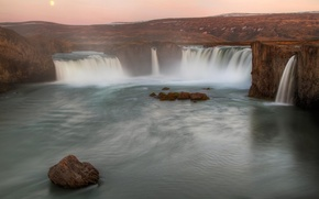 Picture twilight, Iceland, threads, river, waterfall of the Gods
