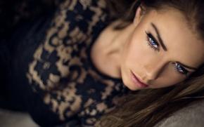 Picture girl, portrait, blue-eyed, Katrine Thyge