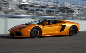 Picture speed, supercar, car, side view, roadster, LP700-4, Lamborghini Aventador