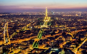 Picture light, night, the city, lights, France, Paris, building, road, home, the evening, panorama, Eiffel tower, ...