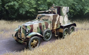 Picture figure, art, BA-10, Soviet medium armored car
