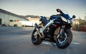 Picture the sky, black, shadow, motorcycle, black, aprilia, bike, supersport, Aprilia, rsv4