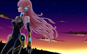 Picture the sky, girl, stars, clouds, sunset, the city, home, anime, art, vocaloid, megurine luka, Vocaloid