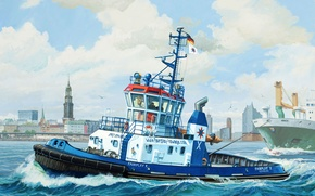 """Picture art, painting, ship, boat, Harbour Tug Boat """"Fairplay"""""""