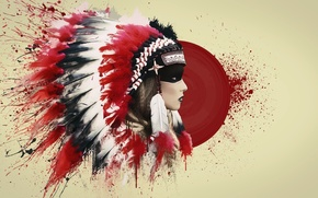 Picture blood, feathers, art, Indian, roach