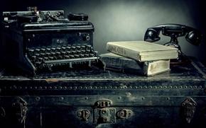 Picture books, phone, Vintage, typewriter, Still Life