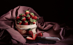 Wallpaper berries, strawberry, knife