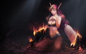 Picture girl, fire, wings, the demon, art, League of Legends, Morgana