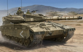 Picture chariot, gun, art, tank, combat, Merkava, mark, caliber, main, 120 mm, Mk III D, psi, …