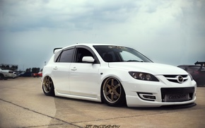 Picture white, wheels, mazda, japan, jdm, tuning, front, Mazda, face, low, stance, stance nation, mps, lowdaily, …