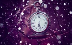 Wallpaper time, bokeh, lilac, time, watch
