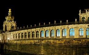 Picture night, bridge, lights, Germany, Dresden, lights, channel, architecture, Palace, Kennel, Zwinger