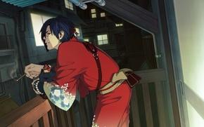 Picture the evening, cigarette, balcony, kimono, dog, scar, the light in the Windows, Koujaku, Ren, Dramatic …