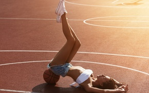 Picture summer, girl, style, shorts, jeans, figure, legs, cutie, Playground, basketball