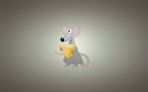 Picture minimalism, mouse, cheese, light background, rat, rat, mouse