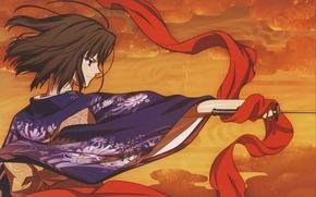 Picture katana, scarf, kimono, kara no kyoukai, the garden of sinners, the garden of sinners, shiki …