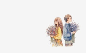 Picture autumn, mood, bouquet, art, pair, girl, guy, two