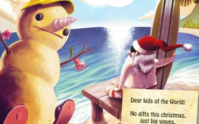 Picture beach, stay, new year, snowman