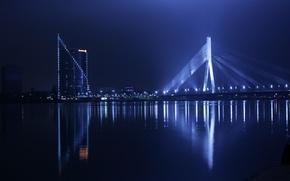 Picture lights, bridge, water, night, staro Riga, Daugava, Riga