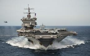 Wallpaper sea, wave, the carrier, USS Enterprise, (CVN-65)